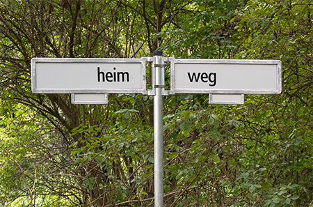 HEIM / WEG, installation, 2015 2 Berlin-based street sign, written character, metal rod, Holder, earth anchor, dimensions: 200 x 110 x 10 cm, 2015